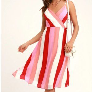 Pink Multi-Striped Flowy Party Dress